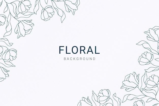 Elegancki vintage symetryczny niebieski kwiatowy liść rośliny ręcznie rysowane ilustracji banner tło