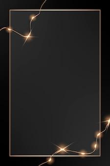 Elegancki wektor złotej ramki ze świecącymi przewodowymi światłami na czarnej grafice
