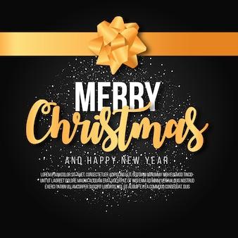 Elegancki wesołych świąt bożego narodzenia tło ze złotą wstążką