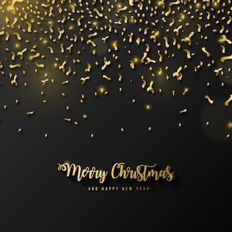 Elegancki wesołych świąt tło z złotym konfetti