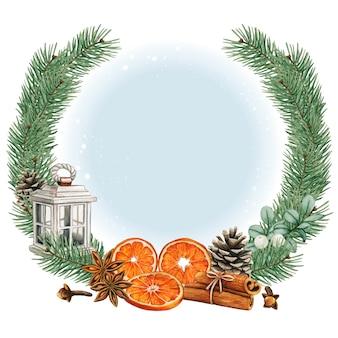 Elegancki wieniec bożonarodzeniowy akwarela