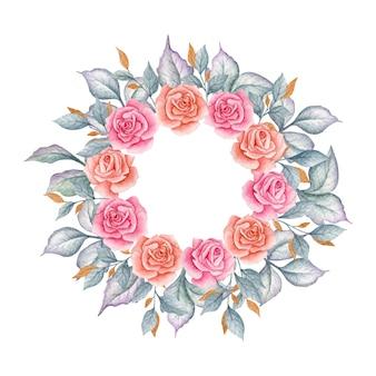 Elegancki wieniec kwiatowy akwarela szczęśliwy walentynki