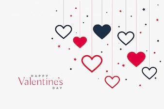Elegancki wiszący serca tło dla valentines dnia