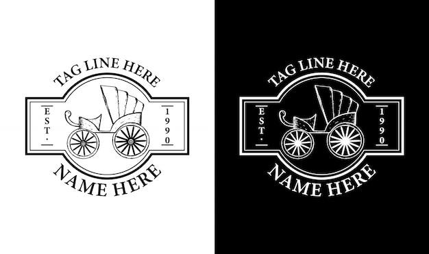 Elegancki wózek vintage retro odznaka etykieta emblemat logo inspiracja
