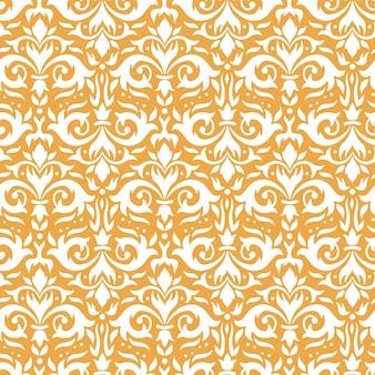 Elegancki wzór adamaszku. ozdobne gałązki kwiatowe, złoty ornament barokowy i luksusowe kwiaty ozdobne bezszwowe tło