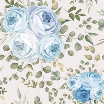 Elegancki wzór bez szwu niebieski kwiatowy