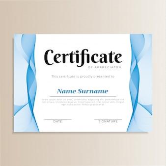 Elegancki wzór certyfikatu fali
