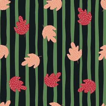 Elegancki wzór dąb na tle pasek. tło liści w stylu skandynawskim. prosta tapeta natury. do projektowania tkanin, drukowania tekstyliów, pakowania, okładek. doodle ilustracja wektorowa
