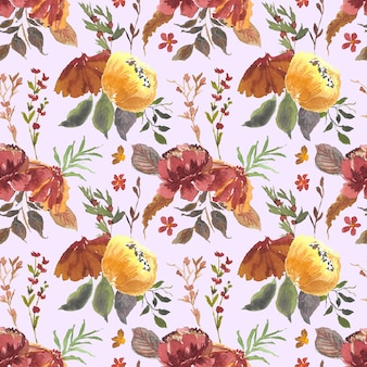 Elegancki wzór kwiatowy akwarela bezszwowe tło wzór