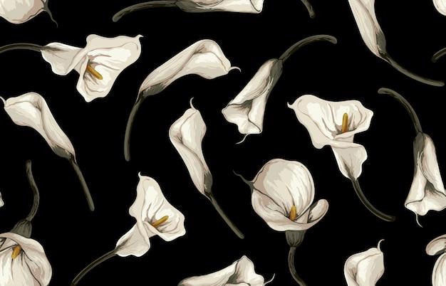 Elegancki wzór rumianych stonowanych kwiatów rustykalnych