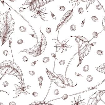 Elegancki wzór z kawowymi lub kawowymi kwiatami, liśćmi i dojrzałymi owocami lub jagodami ręcznie rysowanymi liniami konturowymi