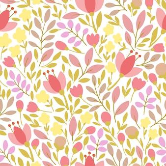 Elegancki wzór z kwiatami, ilustracji wektorowych
