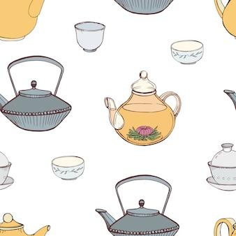 Elegancki wzór z ręcznie rysowanymi tradycyjnymi japońskimi atrybutami ceremonii parzenia herbaty - żeliwny czajnik tetsubin, czajnik, filiżanki lub miski. kolorowa ilustracja dla tekstylnego druku, tapeta.
