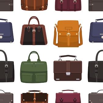 Elegancki wzór ze skórzanymi męskimi torebkami lub torebkami różnego typu na białym tle