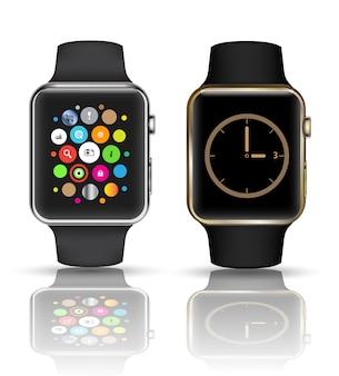 Elegancki zegarek na białym tle z ikonami