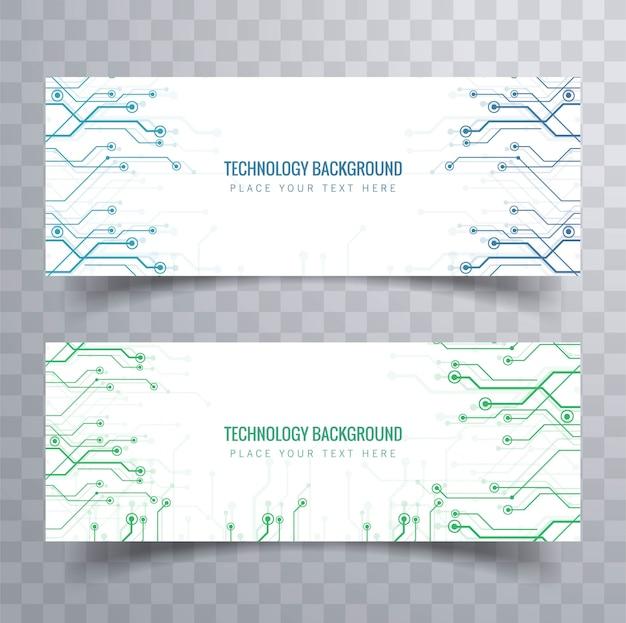 Elegancki zestaw bannerów technologii projektowania