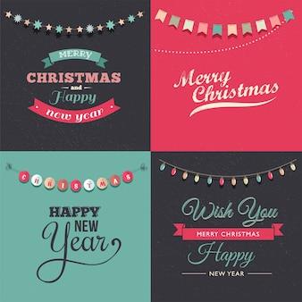 Elegancki zestaw kart okolicznościowych wesołych świąt i szczęśliwego nowego roku