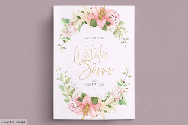 Elegancki zestaw kart ślubnych lilia