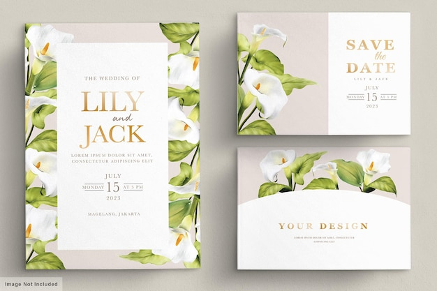 Elegancki zestaw kart zaproszenie lilia wyciągnąć rękę