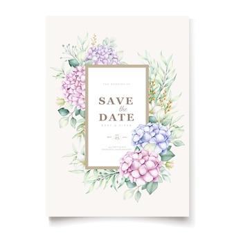 Elegancki zestaw kart zaproszenie na ślub kwiatowy hortensja akwarela