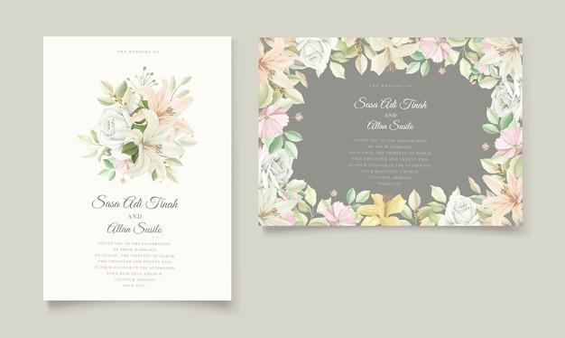 Elegancki zestaw kart zaproszenie na ślub lilia