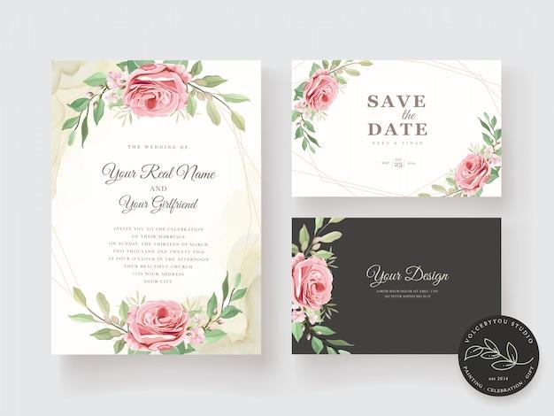 Elegancki zestaw kwiatowy zaproszenia ślubne