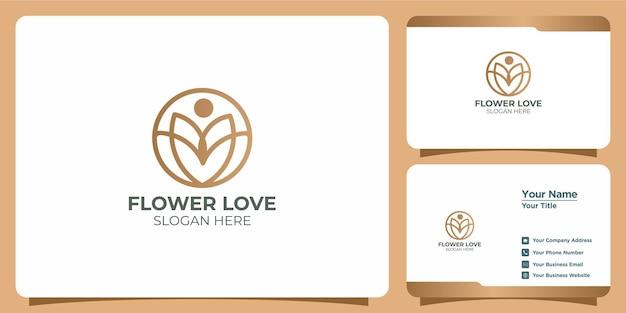 Elegancki zestaw logo z kwiatowym połączeniem miłości