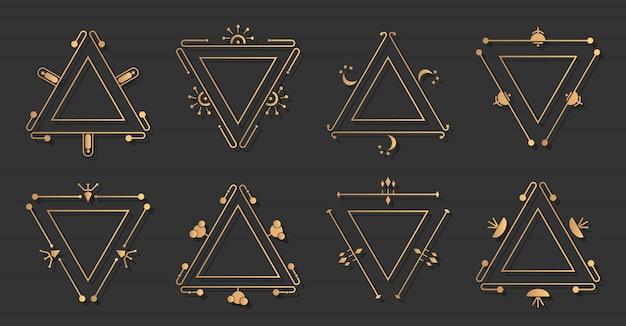 Elegancki zestaw ozdobny ze złotą ramą tricorn. trygonalna granica rocznika.