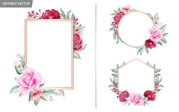 Elegancki zestaw ramek z czerwonych i brzoskwiniowych kwiatów do kompozycji kart ślubnych