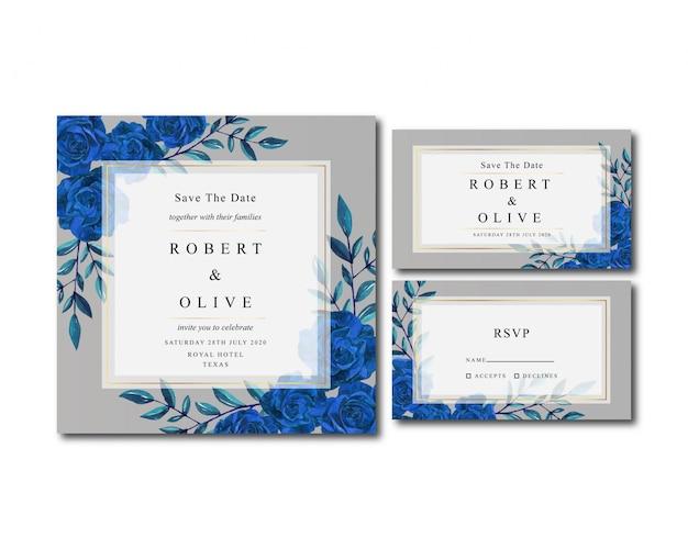 Elegancki zestaw ślubnych akwareli niebieska róża wesele
