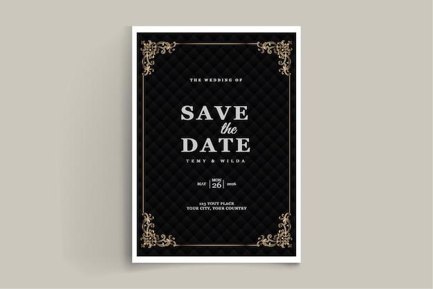 Elegancki zestaw szablonów zaproszenia na ślub z zapisz datę