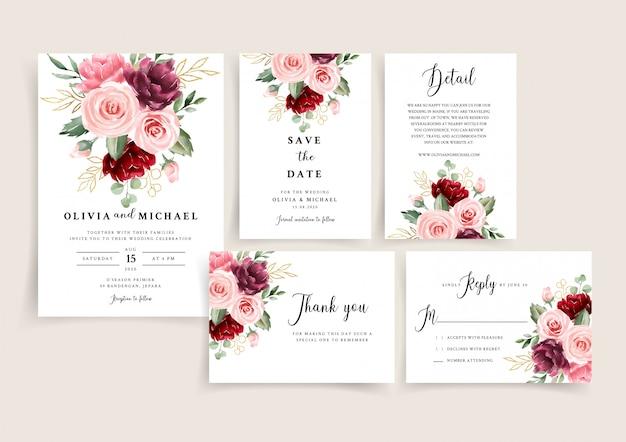 Elegancki zestaw szablonów zaproszenia ślubne bordowy i złoty