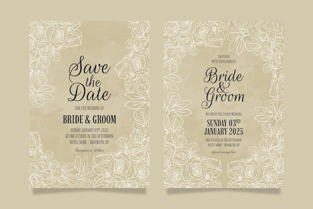Elegancki zestaw szablonów zaproszenia ślubne