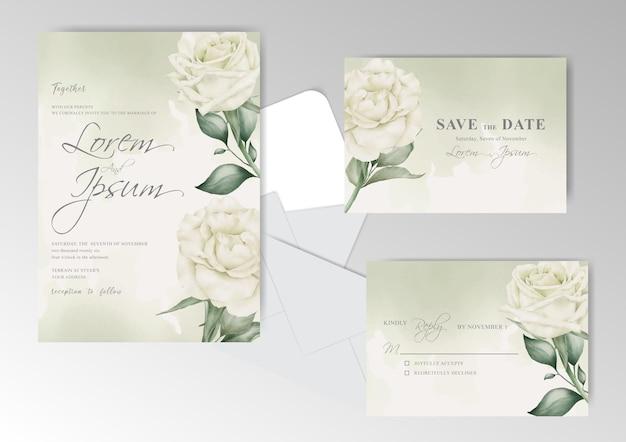 Elegancki zestaw szablonu karty zaproszenie na ślub