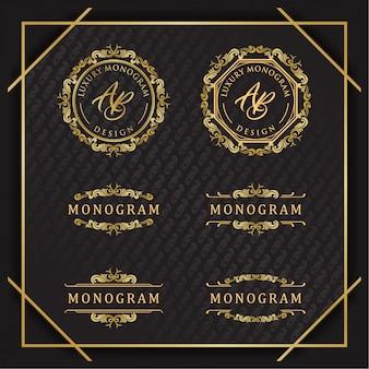 Elegancki zestaw wzorów złotego ornamentu z luksusowym czarnym tłem
