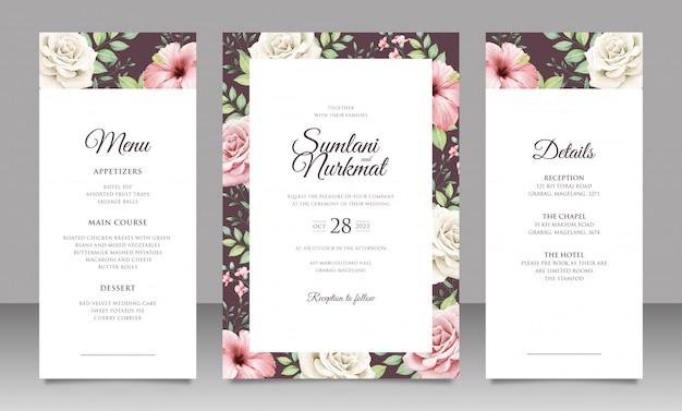 Elegancki zestaw zaproszenia ślubne z pięknymi kwiatami i liśćmi