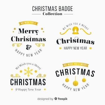 Elegancki Zestaw Złotych Christmas Etykiet Darmowych Wektorów