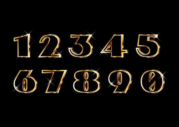 Elegancki zestaw złotych cyfr w stylu klasycznym