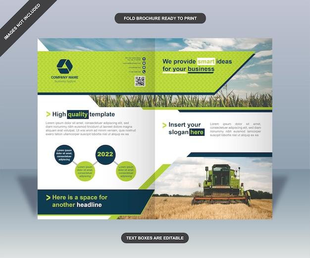 Elegancki zielony składany projekt broszury biznesowej