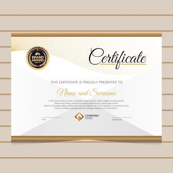 Elegancki złoty certyfikat szablonu