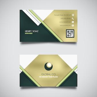 Elegancki złoty i zielony wizytówka