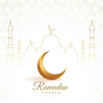 Elegancki złoty księżyc z meczetowym ramadan kareem tłem