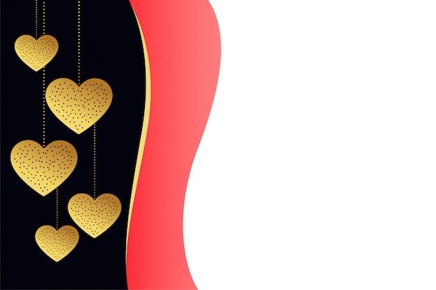 Elegancki złoty serca tło z tekst przestrzenią
