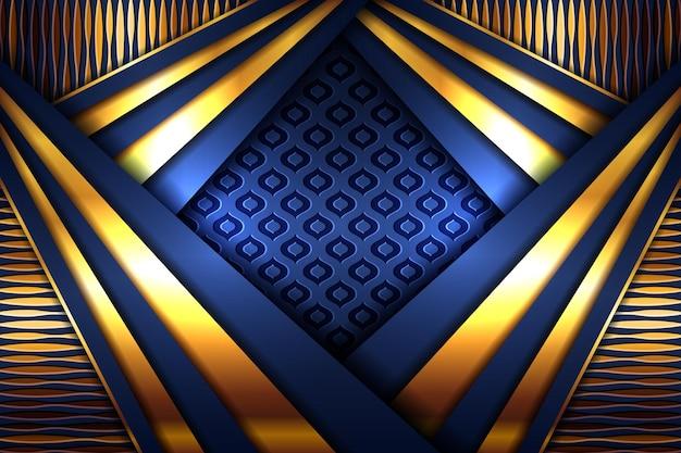 Elegancki złoty wielokątny wielokąt na ciemnoniebieskim papierze z warstwą materiału geometrycznego baneru