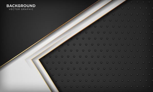 Eleganckie abstrakcyjne czarno-białe tło ze złotymi elementami linii realistyczna luksusowa koncepcja 3d