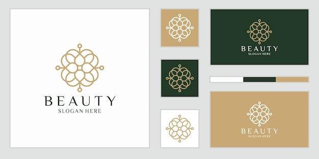 Eleganckie abstrakcyjne kwiaty, które inspirują piękno, jogę i spa. logo