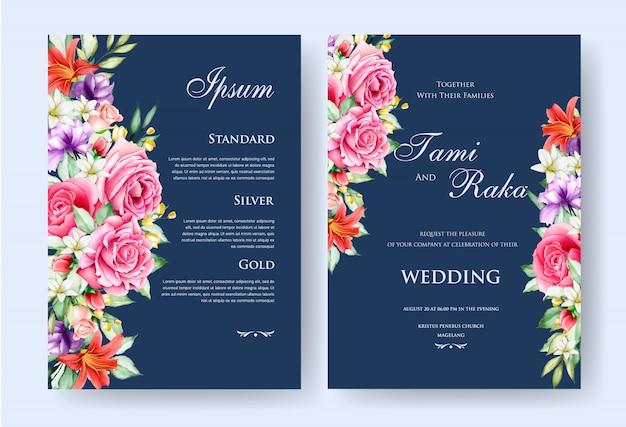 Eleganckie akwarele kwiatowe i liście karty ślubu