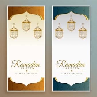 Eleganckie banery festiwalowe ramadan kareem