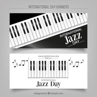 Eleganckie banery jazz z klawiszy fortepianu
