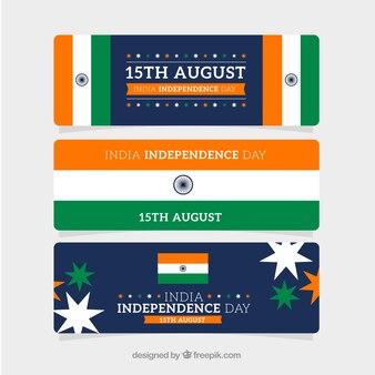 Eleganckie banery na dzień niepodległości indii